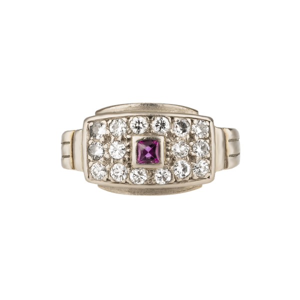 Art Deco diamond and ruby tablet ring - image 1