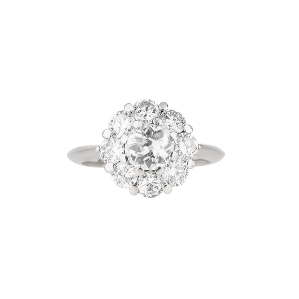 Contemporary diamond cluster ring with a centre diamond 1.02 ct and 3.25 ct total est.  diamond weight - image 1