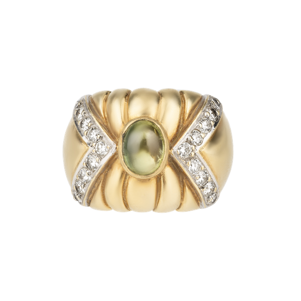 Gold and yellow chrysoberyl cabochon bombe shaped ring - image 1