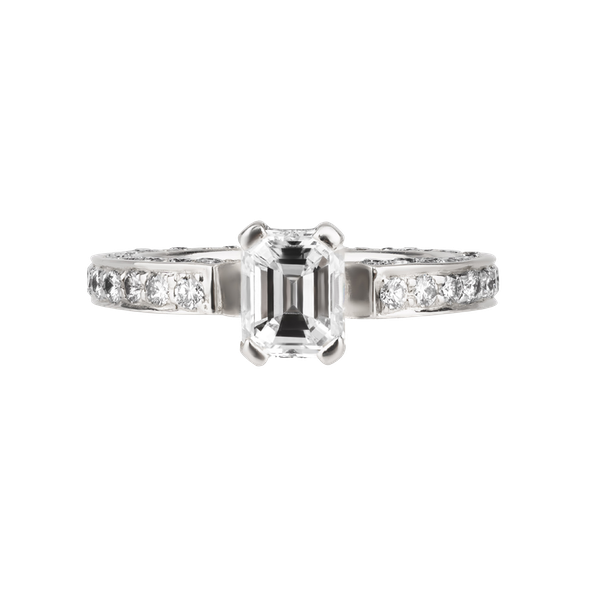 Emerald cut and brilliant cut diamond ring set in platinum - image 1