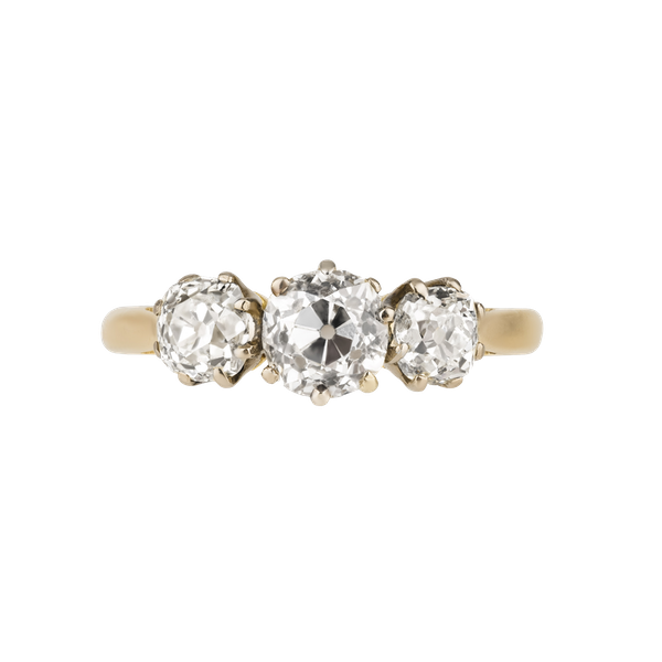3 stone diamond ring set with  old cut cushion diamonds - image 1