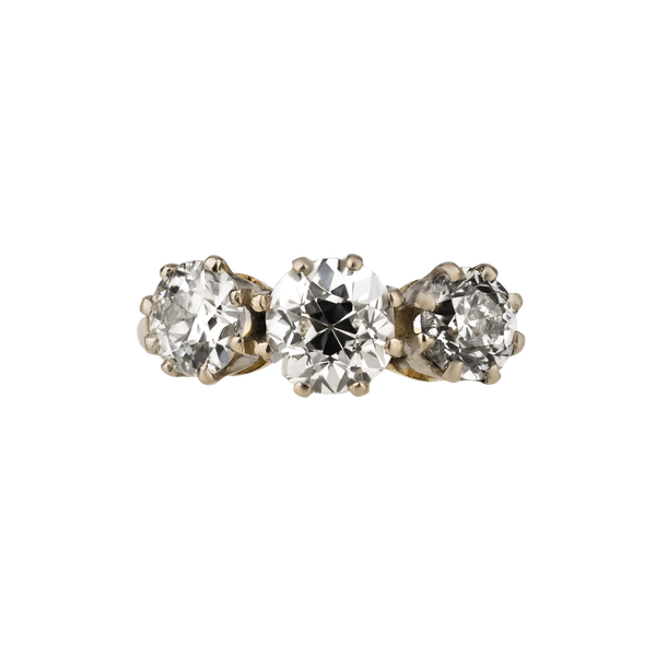 3 stone diamond ring with total diamonds of 2.15 ct est. Centre is 0.96 ct est. - image 1