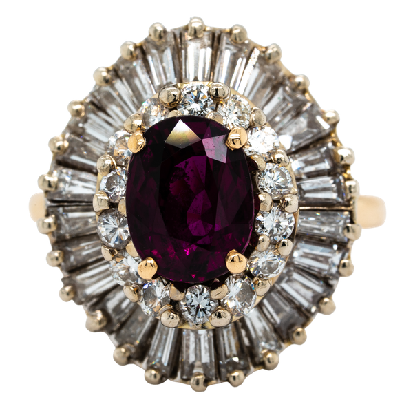 A 1950's Ruby and Diamond Cluster Ring Offered by The Gilded Lily - image 1