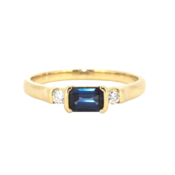 Emerald Cut Sapphire And Diamond Ring. S.Greenstein - image 1