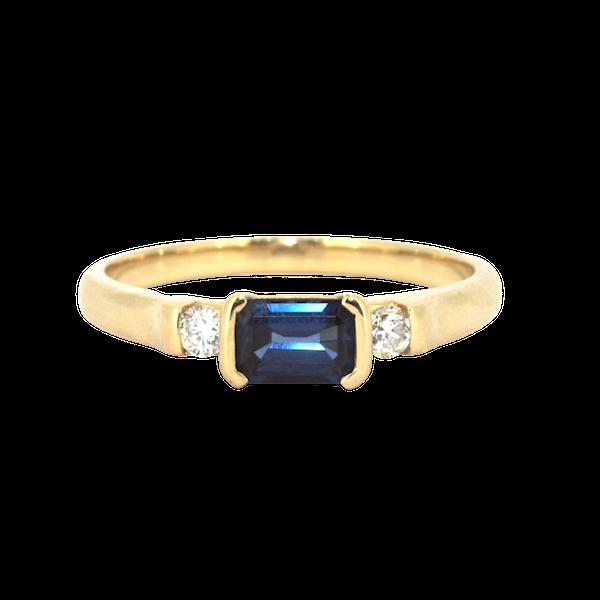 Emerald Cut Sapphire And Diamond Ring. S.Greenstein - image 1