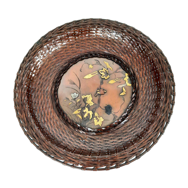 Japanese bronze woven plate - image 1