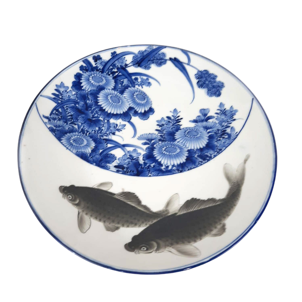 Japanese blue and white plate with fish painting - image 1