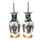 Pair Chinese famille verte lamped vases - image 1