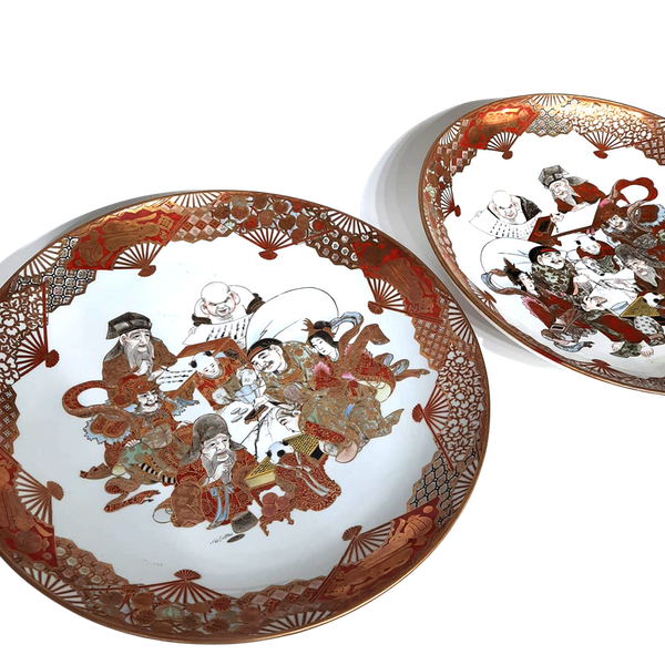 Pair Japanese Kutani plate with seven lucky gods decoration - image 1