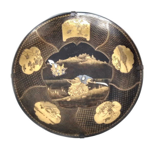 Japanese lacquer dish with Samurai decoration - image 1