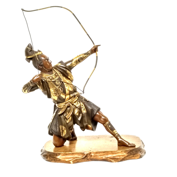 Japanese bronze and gilt sculpture of an archer - image 1