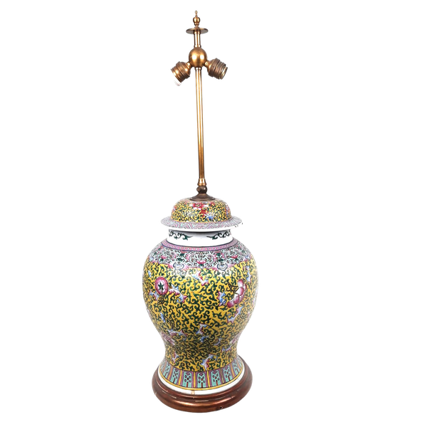 Chinese vase with yellow floral decoration converted into a lamp - image 1