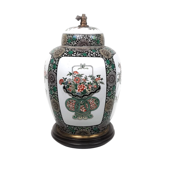 Chinese famille verte ginger jar that has been converted into a lamp - image 1