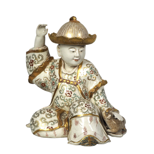 Japanese Satsuma figure of a boy and puppy - image 1