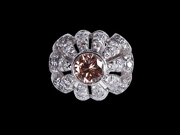 Cognac diamond and diamond bombe ring  DBGEMS - image 1