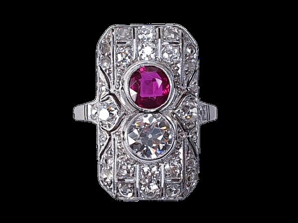 Art Deco Ruby and Diamond Ring  DBGEMS - image 1
