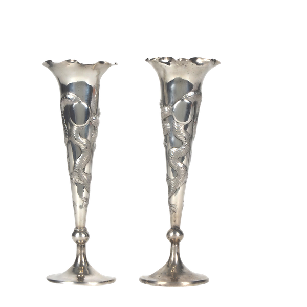 Pair Chinese silver fluted vases decorated with dragons - image 1