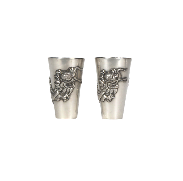 Pair Chinese silver shot glasses - image 1
