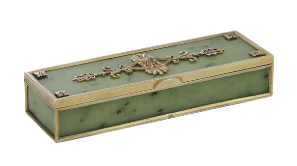 A Faberge Silver Gilt Jade Box, Moscow, 1899-1908 - image 1