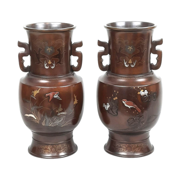 Pair Japanese bronze vases with sparrow decoration - image 1