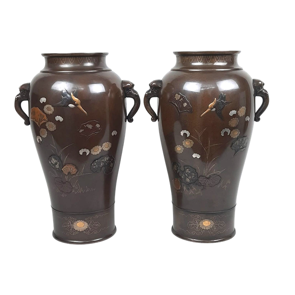Pair Japanese bronze vases with kingfishers - image 1