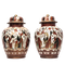 Pair Japanese Kutani vases decorated with crowds of people - image 1