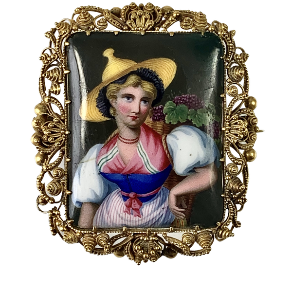 1830 gold brooch with Swiss enamel - image 1