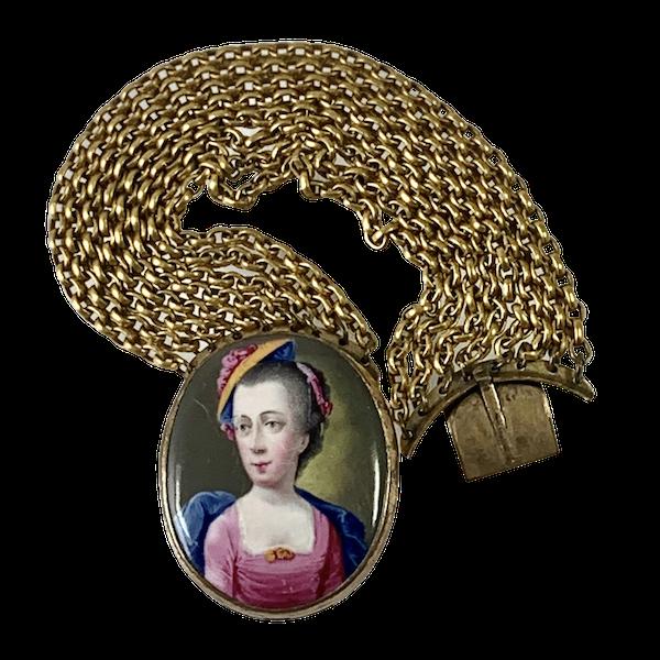 Pinchbeck bracelet with enamelled portrait - image 1