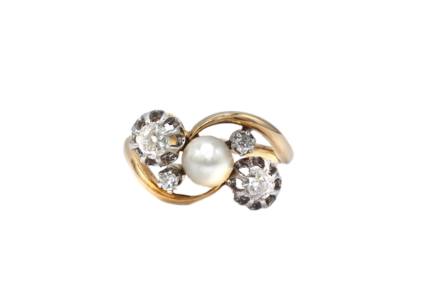 Pearl and diamond cross over ring - image 1