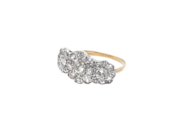 Diamond triple flower cluster ring - image 1
