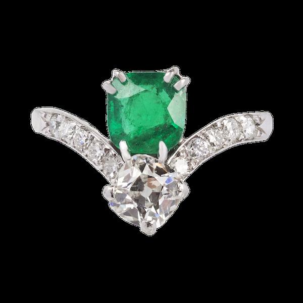 Emerald and diamond Art Deco ring - image 1