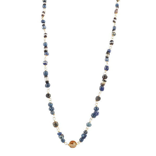 Roman glass and gold necklace - image 1