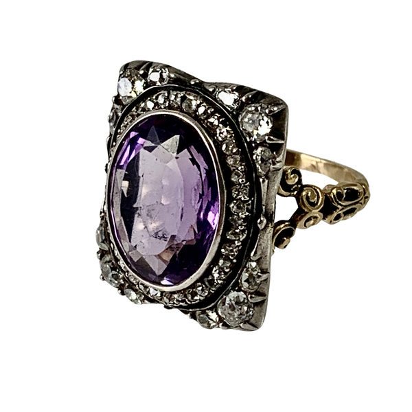 Amethyst ring with diamonds - image 1