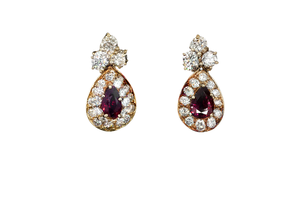 Ruby and diamond earrings - image 1