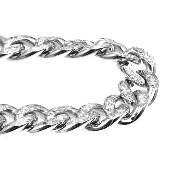 Diamond set Curved-link white gold bracelet - image 1