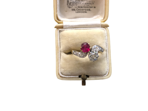 Diamond and Ruby Ring c/1910 - image 1