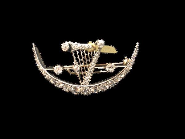 Diamond Crescent Brooch c/1880 - image 1