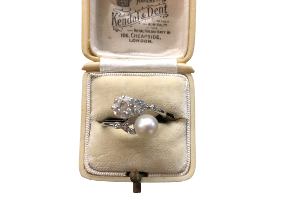 Diamond and pearl cross over ring c/1910 - image 1