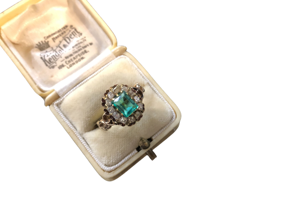 Emerald Diamond Ring c/1880 - image 1