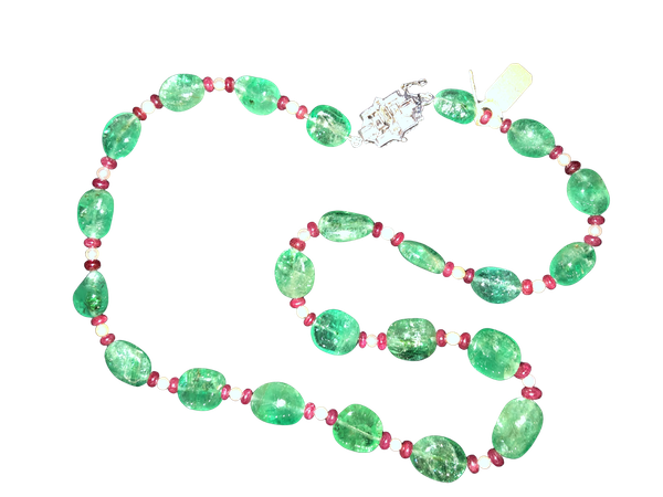 Emerald and Ruby Bead Necklace c/1900 - image 1