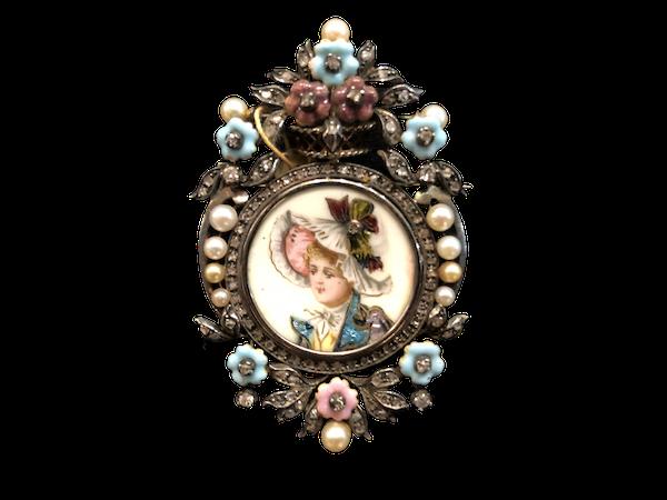 Victorian Enamel Brooch c/1850 - image 1