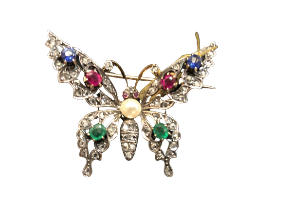 French Butterfly Brooch c/1880 - image 1
