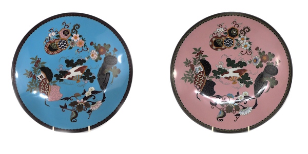 Pair Japanese cloisonne plates with decoration of flowers and fans - image 1