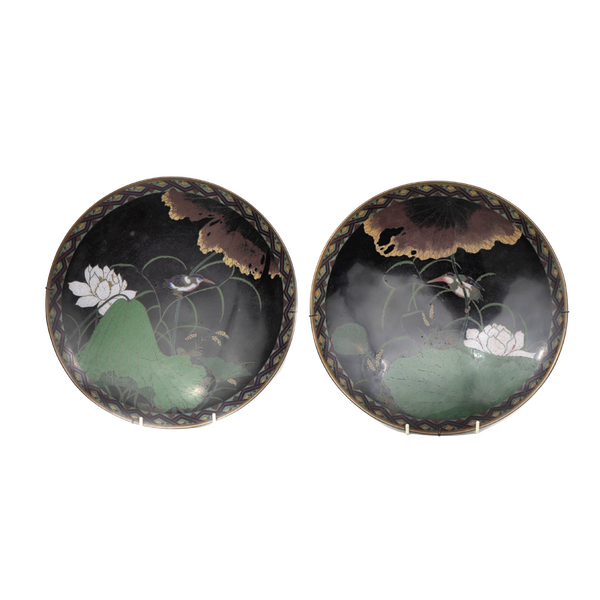 Pair of Japanese cloisonne plates decorated with Kingfishers - image 1
