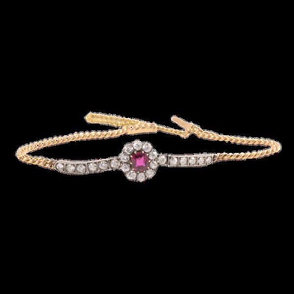 Date: circa 1905, 18ct Yellow Gold & Platinum, Ruby & Diamond stone set Bracelet, SHAPIRO & Co since1979 - image 1