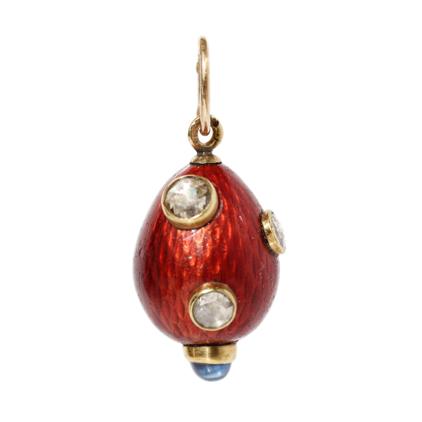 Faberge gold, enamel and diamonds egg pendant, St. Petersburg c.1900 work master August Hollming - image 1