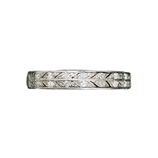 An Old Cut Diamond Platinum Eternity Ring - image 1