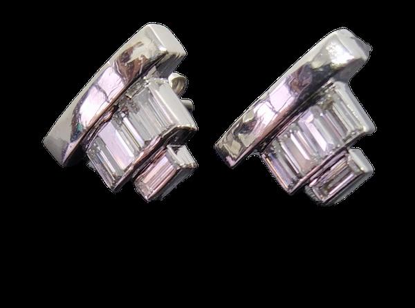 Diamond Baguette Cut Ear Studs. - image 1