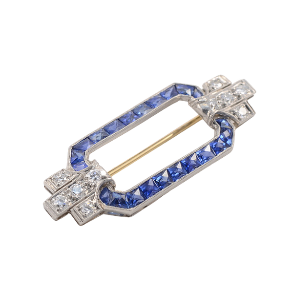 TIFFANY & CO, Date: circa1920, Platinum & 14ct Yellow Gold, Sapphire & Diamond stone set Brooch, SHAPIRO & Co since1979 - image 1