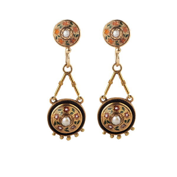 A pair of Gold, Pearl, and Enamel earrings - image 1